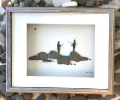 Pebble Art Fishing Modern Wall Art Abstract Contemporary in Shadow Box Signed. by SusiUhlArt on Etsy