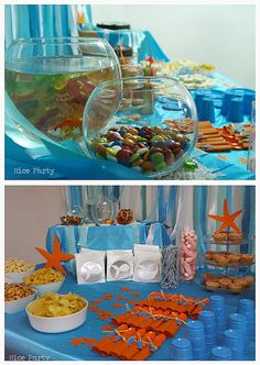 Put snacks in fish bowls :) Cute for a mermaid/pool party!