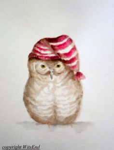'NIGHT, OWL. Baby Bird watercolor painting original nursery art by 4WitsEnd, via Etsy