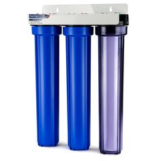 3-Stage 20 in. Whole House Water Filter with 3/4 in. NPT Carbon and Clear Housing on First Stage, Blue