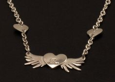 Heart and Wings Pendant, Sterling Silver Heart, Personalized Heart & Wings, Initial Heart Tattoo Jewelry, 925, Heart Wings Necklace