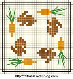 buns & carrots cross stitch....make a ditty bag with this and hang around my bunny neck????.