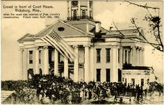 "Cooper Postcard Collection  ""Crowd in front of Court House [Courthouse], Vicksburg, Miss., when the news was received of Pres. Lincoln's assassination. Picture taken April 16th, 1865.""  Vicksburg, Mississippi, Warren County, 1865"