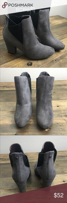 """NIB BCBGeneration Dark Grey Ankle Boots, 7.5 🎀 SIZE: 7.5 (reference: I'm a true size 7 & I could wear these without being too big) COLOR: Dark grey CONDITION: NIB, never used. Small glue mark on suede part of heel shown in last image MATERIAL:  * Shaft is about 5.75"""" from arcch. Heel is about 2.75"""" * Boot opening is about 9.5"""" around * Round-toe bootie with fabric upper featuring elastic side goring for easy on/off & chunky wrapped heel * Rubber sole. Memory foam insole, micro suede outside…"""
