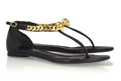 Alexander McQueen Skull-Embellished Leather Sandals
