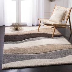 Safavieh Florida Shag Cirilla Abstract Wave Rug x Square - Ivory/Grey) Grey Furniture, Cool Furniture, White Area Rug, Beige Area Rugs, Grey Leather Couch, Couch And Loveseat, Abstract Waves, Brown Carpet, Cheap Carpet Runners