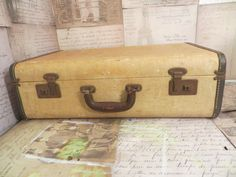 Vintage Luggage Suitcase Yellow/Tan suitcase by oZdOinGItagaiN