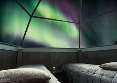 Revontulet iglusta nähtynä Rovaniemen Lumihotellissa - Arctic SnowHotel