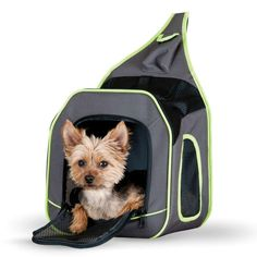 """K&H Pet Products Classy Go Pet Sling Carrier Brown/Lime Green 11.81"""" x 10.24"""" x 12.99"""""""