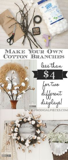 Best Country Decor Ideas - DIY Cotton Branches - Rustic Farmhouse Decor Tutorials and Easy Vintage Shabby Chic Home Decor for Kitchen, Living Room and Bathroom - Creative Country Crafts, Rustic Wall Art and Accessories to Make and Sell Retro Home Decor, Easy Home Decor, Handmade Home Decor, Vintage Decor, Diy Crafts For Home Decor, Vintage Crafts, Shabby Vintage, Country Crafts, Country Decor