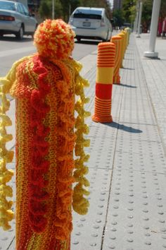 yarn bombing maybe we should put these over the metal next to the power stancions at the marina-keep the boats from gouging themselves!