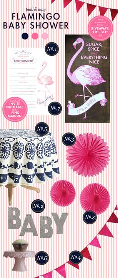 pink & navy flamingo baby shower designed by lay baby lay
