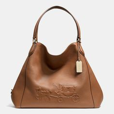 Coach EMBOSSED HORSE AND CARRIAGE LARGE EDIE SHOULDER BAG IN PEBBLED LEATHER