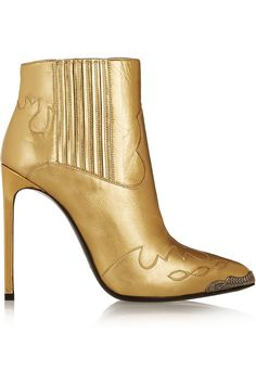 Saint Laurent Paris Metallic Leather Ankle Boots: How the West was Won Short Heel Boots, Leather High Heel Boots, Slip On Boots, Pull On Boots, Leather Ankle Boots, Ankle Booties, Heeled Boots, Bootie Boots, Jimmy Choo