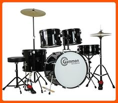 Gammon Percussion Full Size Complete Adult 5 Piece Drum Set with Cymbals Stands Stool and Sticks, Black - Fun stuff and gift ideas (*Amazon Partner-Link)