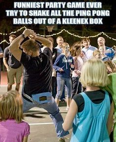 Art The shake-all-the-ping-pong-balls-out-of-the-kleenex-box-in-a-minute game. This would be HILARIOUS for a bachelorette party game! the-bachelorette-party-i-wanna-throw Fun Teen Party Games, Funny Party Games, Fun Games, Sleepover Party, Group Games, Funny Wedding Games, Engagement Party Games, Crazy Games, Teen Parties