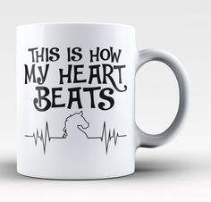 Horse Heartbeat. If this is how your heart beats this mug is perfect for you! Available here - https://diversethreads.com/products/horse-heartbeat-mug