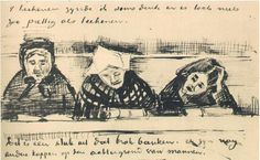 Vincent van Gogh Church Pew with Worshippers Letter Sketches