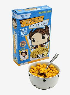 """FunkO is celebrating season episode named """"The One With All the Thanksgivings,"""" with a Chandler-inspired cereal. The bright yellow multigrain rings cereal is exclusive to BoxLunch. Harry Potter Candy, Chandler Friends, Funko Figures, Candy Dispenser, Disney Sleeping Beauty, Multigrain, Pop Vinyl Figures, Funko Pop, Yummy Treats"""