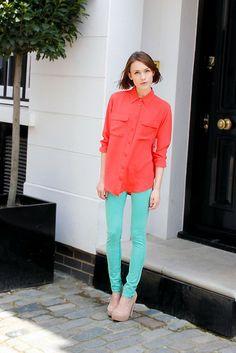 Equipment Silk Shirt, Rag & Bone Neon Jeans