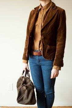 Jacket vintage style blazer // brown velvet by MarqueeMoonVintage, $38.00