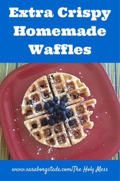 This waffle recipe has a secret ingredient that makes them extra crispy and delicious. Perfect for weekend brunch, or anytime you want perfect waffles.