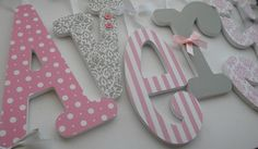 Pink And Grey Nursery Decor -baby Girl Wooden Letters For Nursery-avail In Any…