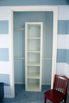 4081455884407673 Super Cheap Small Closet Makeover. Anchor An IKEA Expedit  Shelf Into The Wall.
