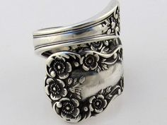 """Sterling Silver Spoon Ring made from 1899 """"Buttercup"""" pattern. <3  Via Dankartistry on Etsy."""