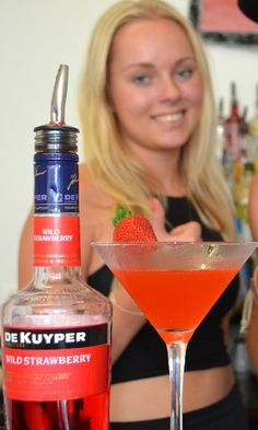 Strawberry Daiquiri Cocktail ~ Ingredients: Light Rum, Strawberry Liqueur, Fresh Lime Juice, Strawberry Puree, Crushed Ice ~ Garnish it with a strawberry