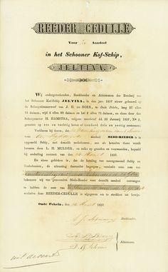 Schooner Kof-Schip Jeltina Oute Pekela, 24.03.1857, Reeder Cedulle über 1/50stel Anteil, o. Nr., 23,3 x 19,8 cm, schwarz, beige, Knickfalten, etwas gebräunt, OU.