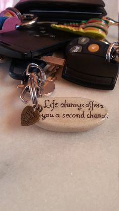 Tomorrow Motivational Life Quote Keychain Stone by LivingPebble