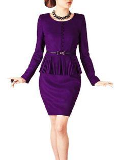 BESTSELLER! Purpura Erizo Womens Purple Faux 2 Piece Set Suit Belted Peplum Wool Dress $77.99
