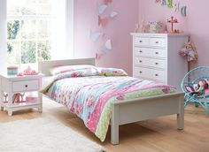 This solid pine bed will make a classy addition to any bedroom. Designed for kid's this single bed frame has subtle panel detailing on the headboard and is painted in a crisp white finish.