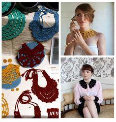 Crochet collars think-i-m-going-to-start-crocheting-again Col Crochet, Crochet Collar, Crochet Art, Lace Collar, Double Crochet, Crochet Stitches, Free Crochet, Crochet Patterns, Crochet Scarves