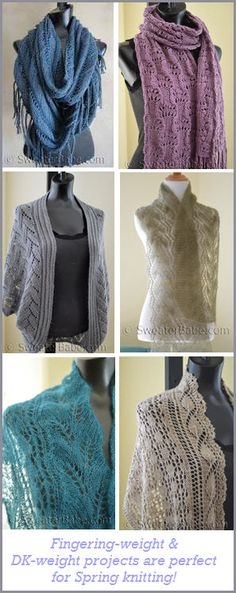 Lighter-weight knitting projects for year-round knitting! Lace and lots of feminine details to layer against the evening chill.