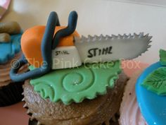 Logger with a Chainsaw Cake | pin chainsaw cake for a logger man fishing hunting cake picture