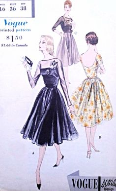 1950s BEAUTIFUL Evening Party Dress and Strapless Slip Pattern VOGUE Special Design 4061 Perfect For Sheers Bust 36 Vintage Sewing Pattern UNCUT