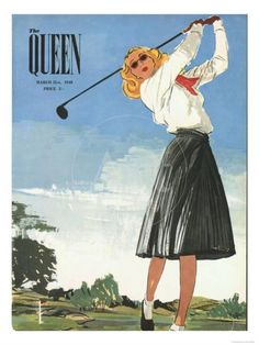 Golf Clubs Vintage The Queen, Golf Womens Magazine, UK, 1940 Print Ladies Golf Clubs, Best Golf Clubs, Best Golf Courses, Girls Golf, Golf Attire, Golf Outfit, Golf Party Decorations, Golf Magazine, Sneaker Store