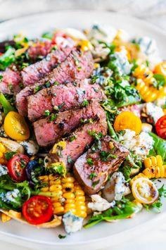 Healthy Summer Dinner Recipes, Salad Recipes For Dinner, Dinner Salads, Healthy Recipes, Healthy Salads, Summer Grill Recipes, Summer Entrees, Steak Dinner Recipes, Eating Healthy