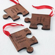 Personalised Christmas Jigsaw Decoration - me and my mum are doing a christmas jigsaw this year - might be a tradition!