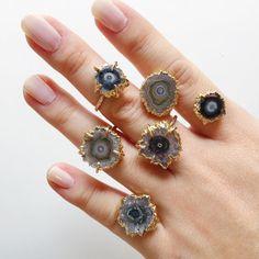 Kakahi ring - gold stalactite ring, gold ring, druzy ring, mineral ring…