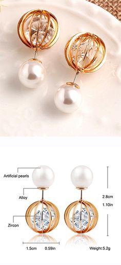 Pearl Rhinestone Hollow Globe Earrings