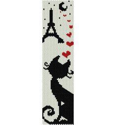 Schema peyote Gattino innamorato con cuori, luna e Torre Eiffel di AntosCreations su Etsy