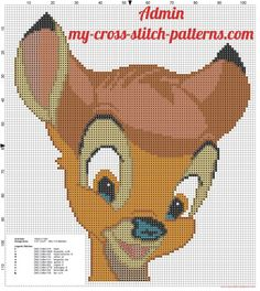 Disney Bambi face 99x113 free cross stitch pattern (click to view)