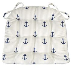 ANCHORS STRIPE INDOOR / OUTDOOR DINING CHAIR PADS & PATIO CUSHIONS - NAVY BLUE save with coupon #Sale #July4th #Anchors #Stripes