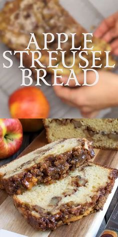 Our Apple Streusel Bread is a sweet cake-like bread with a layer of apple chunks and walnuts in middle and topped with a cinnamon streusel. recipes for a crowd church Apple Streusel Bread Fun Desserts, Delicious Desserts, Yummy Food, Tasty, Desserts With Apples, Jewish Desserts, Autumn Desserts, Baking Desserts, Bread Recipes