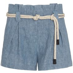L'Agence EXCLUSIVE Denim Paperbag Waist Short (€205) ❤ liked on Polyvore featuring shorts, bottoms, short, denim, short shorts, denim shorts, zipper pocket shorts, high-waisted shorts and paperbag shorts