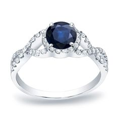 Auriya 14k Gold 1/2ct Blue Sapphire and 1/3ct TDW Round Diamond Engagement Ring (H-I, SI1-SI2) (White Gold - Size 4), Women's
