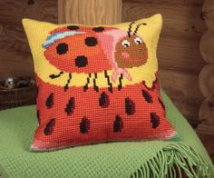 Collection d'Art:5.022 - Mme Pott - Easy to stitch large count cross stitch cushion kit - On Sale Now - 40% Discount - Original Retail Price $40.00